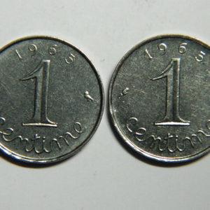 Lot de 2x 1 Centime 5ème République  1965 SUP  EB90350