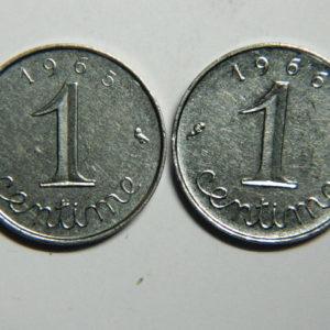 Lot de 2×1 Centime 5ème République 1965/1966 SUP  EB90351