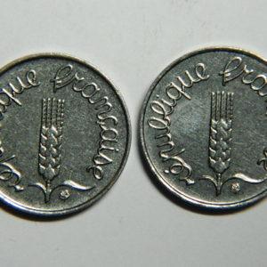 Lot de 2×1 Centime 5ème République 1965/1966 SUP  EB90352