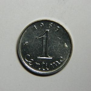 1 Centime 5ème République 1969 queue longue  SUP  EB90354