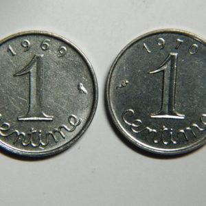 Lot de 2×1 Centime 5ème République 1969/1970 SPL  EB90355