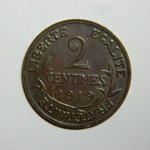 2 Centimes 3 et 5ème République 1919 SPL  EB90358