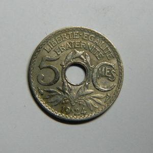 5 Centimes Lindauer petit module 1924 TTB  EB90364