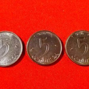5 Centimes Epis Lot de 3 : 1962/63/64 SUP  SI90116