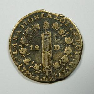 12 DENIERS Louis XVI 1792T TB+ EB90150
