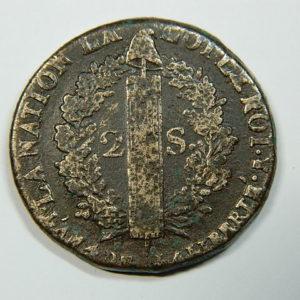 2 SOLS Louis XVI 1792A B+ SI90020A
