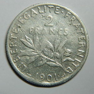 2 Francs Semeuse 1901 TB Argent 835°/°° EB90403