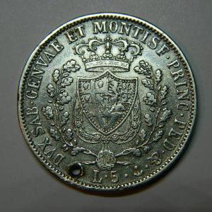 5 Lire Charles Félix 1828 TTB+ Rare Etat d'Italie Sardaigne Argent 900 °/°° EB90315