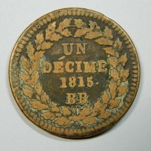 1 Décime Louis XVIII 1815 BB 2 points TB EB90138