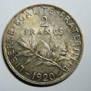 2 Francs Semeuse 1920 SPL Argent 835°/°° Belle Patine EB90301