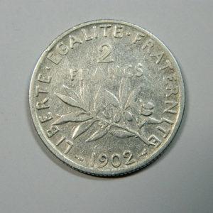 2 Francs Semeuse 1902 TB+ Argent 835°/°° EB90197