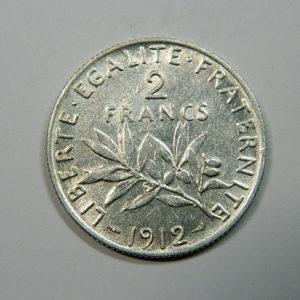 2 Francs Semeuse 1912 TTB+ Argent 835°/°° EB90185