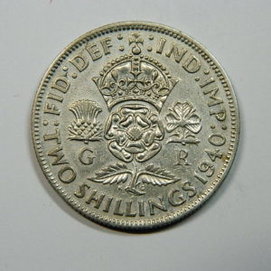 2 Shillings Georges VI 1940 TTB+ Royaume Uni Argent 800 °/°° EB90180
