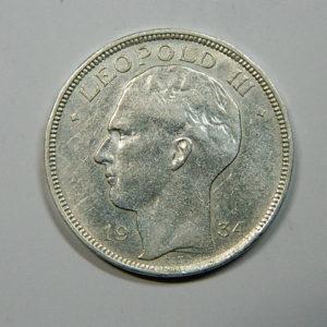 20 Francs Léopold III 1934 TTB+ Belgique Argent 680 °/°°  EB90179