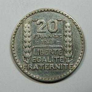 20 Francs Turin 1933 RL TTB Argent 680°/°°  EB90177
