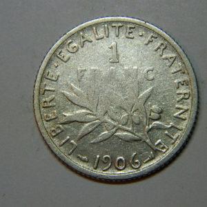 1 Franc Semeuse 1906 TB Argent   835°/°° EB90222
