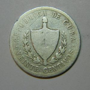 20 Centavos1915 TB CUBA Argent 900 °/°° SI90342