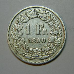1 Franc Suisse 1898 TB Argent 835 °/°°  EB90218