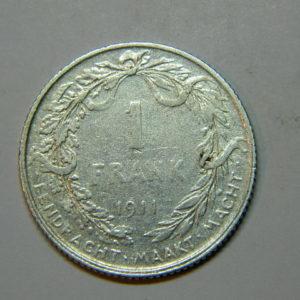 1 Franc Albert 1er 1911 TB Belgique Argent 835 °/°°  EB90214