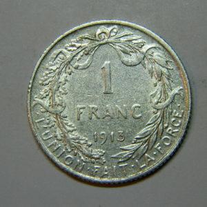 1 Franc Albert 1er 1913 TTB Belgique Argent 835 °/°°  EB90213