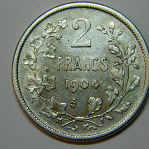 2 Francs Léopold II 1904 TTB +Kdo Belgique Argent 835 °/°°  EB90211