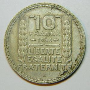10 Francs Turin 1946B Grosse Tête Rameaux Courts TTB+  EB90204