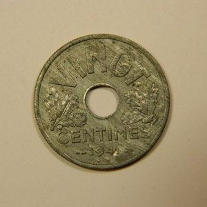 20 Centimes Etat Français Zinc 1941 SUP EB90087