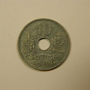10 Centimes Etat Français Zinc1942 GM SPL EB90089