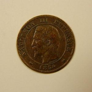 2 Centimes Napoléon III tête nue 1854B TTB EB90102
