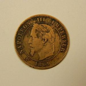 2 Centimes Napoléon III tête Laurée 1861A TB EB90108