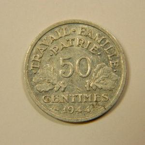 50 Centimes Francisque légère 1944B TTB+++ EB90109