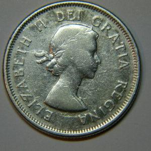 25 Cents Elisabeth II 1960 TTB Canada Argent EB90066