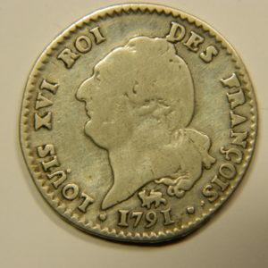 15 SOLS François Louis XVI 1791.A Léopard Argent TB+ EB90537