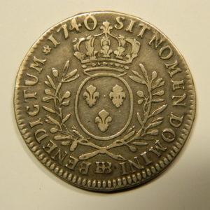 1/2 ECU aux branches d'olivier Louis XV 1740BB TB+/TTB RARE EB90539