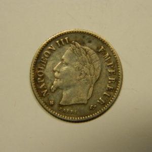 20 Centimes Napoléon III Tête laurée 1867BB TTB Argent 835°/°° EB90550