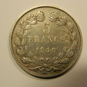 5 Francs Louis-Philippe Ier tête laurée 1846A TTB+ EB90558
