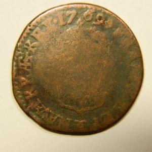 DEMI SOL à La vieille tête Louis XV 1769CC Besançon TB EB90568