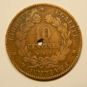 10 Centimes Cérès1895A TTB trou au centre EB90612