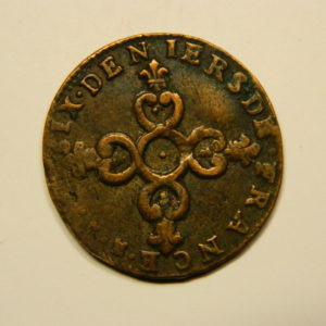 6 Deniers dits « Dardenne » Louis XIV 1712N TB EB90629
