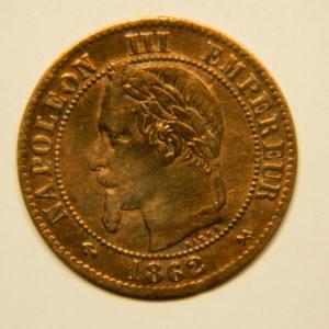 2 Centimes Napoléon III tête Laurée 1862K SUP+ EB90642
