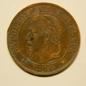 2 Centimes Napoléon III tête Laurée 1861A TTB EB90643