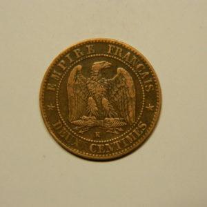 2 Centimes Napoléon III tête Laurée 1862K TTB EB90646