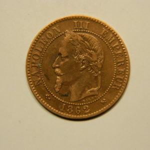2 Centimes Napoléon III tête Laurée 1862K SUP EB90648