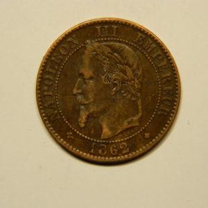 2 Centimes Napoléon III tête Laurée 1862BB grand SUP EB90651