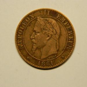 2 Centimes Napoléon III tête Laurée 1861A TTB EB90652