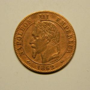2 Centimes Napoléon III tête Laurée 1862K SPL EB90653