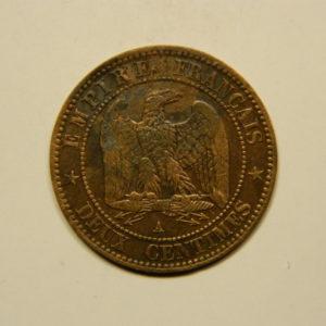 2 Centimes Napoléon III tête nue 1855A Chien TTB+  EB90655