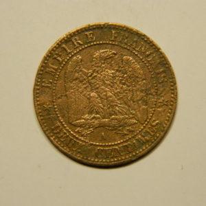 2 Centimes Napoléon III tête nue 1855A Ancre TB  EB90656