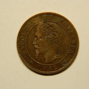 2 Centimes Napoléon III tête Laurée 1862K SUP EB90657