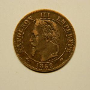 2 Centimes Napoléon III tête Laurée 1862K TTB EB90659